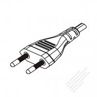 Brazil 2-Pin Plug/Cable End Remove Outer Sheath 20mm Semi-Stripe Inner Sheath 13mm AC Power Cord - Molding PVC 1.8M (1800mm) Black  (H05VVH2-F  2X 0.75mm2 )