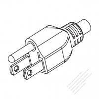 Taiwan/ Japan 3-Pin Straight AC Plug, 7A/11A/15A 125V