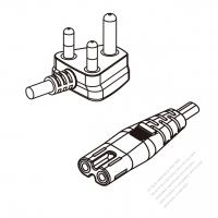 South Africa 3-Pin Angle Plug To IEC 320 C7 AC Power Cord Set Molding (PVC) 0.5M (500mm) Black ( H03VVH2-F 2X 0.75mm2 )
