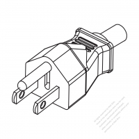 Taiwan/ Japan 3-Pin Straight AC Plug, 7~15A 125V (With Breather Tube)