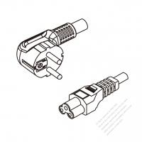Russia 3-Pin Angle Plug To IEC 320 C5 AC Power Cord Set Molding (PVC) 1.8M (1800mm) Black ( H05VV-F 3G 0.75mm2 )