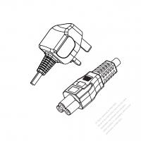 UK 3-Pin Plug to IEC 320 C5 Power Cord Set (PVC) 1.8M (1800mm) Black  (H05VV-F 3G 0.75MM2 )