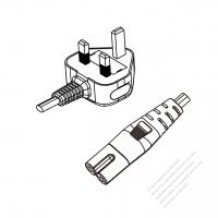 UK 3-Pin Plug to IEC 320 C7 Power cord set (HF - Halogen free) 1.8M (1800mm) Black (H03Z1Z1H2-F 2X0.75MM )