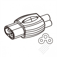 Adapter, IEC 320 C5 3 -Pin Connector to figure 8 male (Sheet C) plug 2.5A/125V (No voltage conversion function)