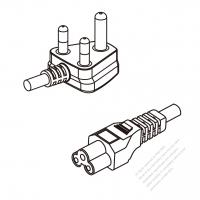 South Africa 3-Pin Angle Plug To IEC 320 C5 AC Power Cord Set Molding (PVC) 0.5M (500mm) Black ( H05VV-F 3G 0.75mm2 )