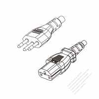 Brazil 3-Pin Plug to IEC 320 C13 Power cord set (HF - Halogen free) 1.8M (1800mm) Black (H05Z1Z1-F 3X0.75MM )