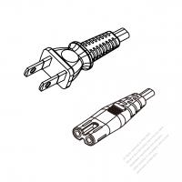 Japan 2-Pin Semi-Insulation Plug To IEC 320 C7 AC Power Cord Set Molding (PVC) 1.8M (1800mm) Black (60227 IEC 52 2X 0.75MM )