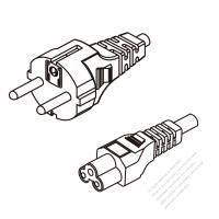 Korea 3-Pin Plug To IEC 320 C5 AC Power Cord Set Molding (PVC) 1.8M (1800mm) Black ( H05VV-F 3G 0.75mm2 )