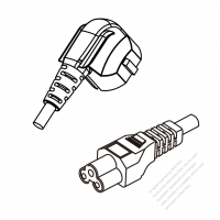 Korea 3-Pin Plug (No G Hole) To IEC 320 C5 AC Power Cord Set Molding (PVC) 1.8M (1800mm) Black ( H05VV-F 3G 0.75mm2 )