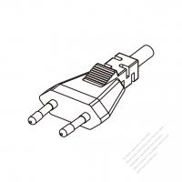 Europe 2-Pin Plug/ Cable End Cut AC Power Cord - Molding PVC 1.8M (1800mm) Black  (H03VVH2-F  2X 0.75mm2  )