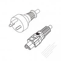 Denmark 3-Pin Plug to IEC 320 C5 Power cord set (HF - Halogen free) 1.8M (1800mm) Black (H05Z1Z1-F 3X0.75MM )