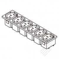 AC Socket IEC 60320-2 Sheet F Appliance Outlet  X 6, 10A/15A