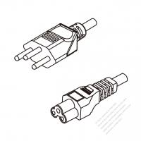 Switzerland 3-Pin Plug To IEC 320 C5 AC Power Cord Set Molding (PVC) 0.5M (500mm) Black ( H05VV-F 3G 0.75mm2 )