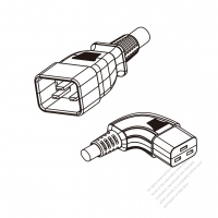 US/Canada 3-Pin IEC 320 Sheet I Plug to IEC 320 C19 Right Angle Power Cord Set (PVC) 1.8M (1800mm) Black  (SJT 16/3C/105C  )
