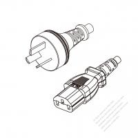 Argentina 3-Pin Plug to IEC 320 C13 Power Cord Set (PVC) 1.8M (1800mm) Black  (H05VV-F 3G 0.75MM2 )