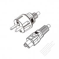 Europe 3-Pin Plug to IEC 320 C5 Power cord set (HF - Halogen free) 1.8M (1800mm) Black (H03Z1Z1-F 3X0.75MM )