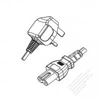 UK 2-Pin Plug to IEC 320 C7 Power Cord Set (PVC) 1.8M (1800mm) Black  (H05VVH2-F 2X0.75MM )