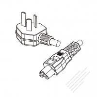 China 3-Pin Angle Type Plug to IEC 320 C5 Power Cord Set (PVC) 1.8M (1800mm) Black  60227 IEC53(RVV) 3C*0.75, (round)  )