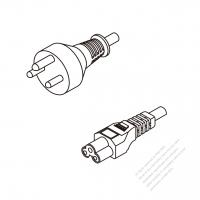 Denmark 3-Pin Plug To IEC 320 C5 AC Power Cord Set Molding (PVC) 1 M (1000mm) Black ( H05VV-F 3G 0.75mm2 )