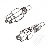 US/Canada 3-Pin NEMA 5-15P Plug To IEC 320 C5 AC Power Cord Set Molding (PVC) 1.8M (1800mm) Black (SPT2 18/3C/60C )