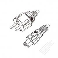 Korea 3-Pin Plug to IEC 320 C5 Power cord set (HF - Halogen free) 1.8M (1800mm) Black (H05Z1Z1-F 3X0.75MM )