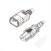 US/Canada 3-Pin IEC 320 Sheet E Plug to IEC 320 C13 Power cord set (HF - Halogen free) 1.8M (1800mm) Black (SVE 18/3C/60C )