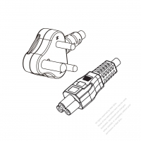 South Africa 3-Pin Angle Type Plug to IEC 320 C5 Power Cord Set (PVC) 1.8M (1800mm) Black  (H03VV-F 3G 0.75MM2 )