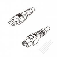 Brazil 3-Pin Plug To IEC 320 C5 AC Power Cord Set Molding (PVC) 1 M (1000mm) Black ( H05VV-F 3G 0.75mm2 )