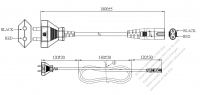 India 2-Pin Plug to IEC 320 C7 Power Cord Set (PVC) 1.8M (1800mm) Black  (YY 2C 0.75mm² (FLAT) )