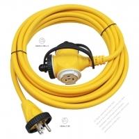 Japan 3 Pin Locking Cord NEMA 5-15P Plug /5-15R Receptacle x 3 (2.0MMSQ)Yellow 5M or 10M (16.4 or 32.8FT)