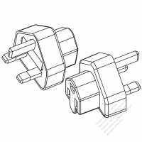 Adapter, UK Plug to NEMA 5-15R Connector, 3 to 3 -Pin, 10A 250V (No voltage conversion function)