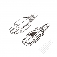 Taiwan 3-Pin Plug to IEC 320 C13 Power Cord Set (PVC) 1.8M (1800mm) Black  (VCTF 3X0.75MM )