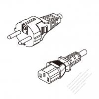 Russia 3-Pin Plug To IEC 320 C13 AC Power Cord Set Molding (PVC) 1.8M (1800mm) Black ( H05VV-F 3G 0.75mm2 )