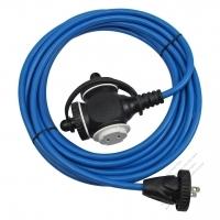 Taiwan 2 Pin Locking Cord NEMA 1-15P Plug /1-15R Receptacle x 3(1.0MMSQ)Blue 5M or 10M (16.4 or 32.8FT)