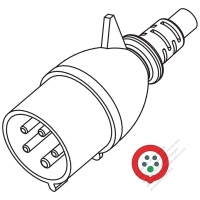 IEC 309  (3P+N+E ) IP 44 Splash proof AC Plug, 32A 400V(6H)