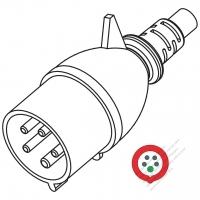 IEC 309  (3P+N+E ) IP 44 Splash proof AC Plug, 32A 400V(6H)