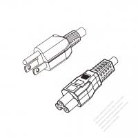 Japan 3-Pin Plug to IEC 320 C5 Power Cord Set (PVC) 1 M (1000mm) Black  (VCTF 3X0.75MM )