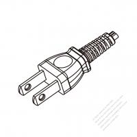 Japan 2-Pin Plug Cable End WS-SR-536 + STRIP 10CM AC Power Cord - Molding PVC 1.8M (1800mm) Black  (VCTFK 2X0.75MM FLAT )