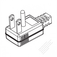 Taiwan/ Japan 3-Pin Elbow AC Plug, 15A 125V