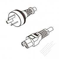 Argentina 3-Pin Plug To IEC 320 C5 AC Power Cord Set Molding (PVC) 1 M (1000mm) Black ( H05VV-F 3G 0.75mm2 )