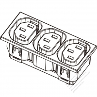 AC Socket IEC 60320-2 Sheet F Appliance Outlet  X 3, 10A/15A