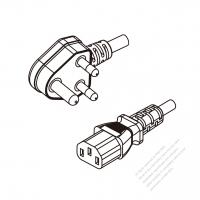 India 3-Pin Angle Plug To IEC 320 C13 AC Power Cord Set Molding (PVC) 1.8M (1800mm) Black (YY 3G 0.75mm2 Round )