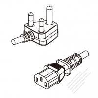 South Africa 3-Pin Angle Plug To IEC 320 C13 AC Power Cord Set Molding (PVC) 1.8M (1800mm) Black ( H05VV-F 3G 0.75mm2 )
