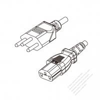 Switzerland 3-Pin Plug to IEC 320 C13 Power cord set (HF - Halogen free) 1.8M (1800mm) Black (H05Z1Z1-F 3X0.75MM )