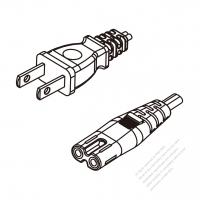 Taiwan 2-Pin Plug To IEC 320 C7 AC Power Cord Set Molding (PVC) 1.8M (1800mm) Black (VFF 2X 0.75mm2 Flat )