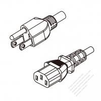 US/Canada 3-Pin NEMA 5-15P Plug To IEC 320 C13 AC Power Cord Set Molding (PVC) 1 M (1000mm) Black (SVT 18/3C/60C )