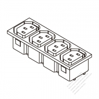 AC Socket IEC 60320-2 Sheet F Appliance Outlet  X 4, 10A/15A