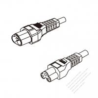 Europe 3-Pin IEC 320 Sheet A Plug To IEC 320 C5 AC Power Cord Set Molding (PVC) 1.8M (1800mm) Black ( H03VV-F 3G 0.75mm2 )