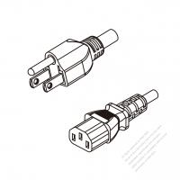 Japan 3-Pin Plug To IEC 320 C13 AC Power Cord Set Molding (PVC) 1.8M (1800mm) Black (VCTF 3X0.75MM Round )