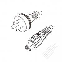 Argentina 3-Pin Plug to IEC 320 C5 Power Cord Set (PVC) 1.8M (1800mm) Black  (H05VV-F 3G 0.75MM2 )